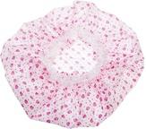 Dewal Beauty Шапочка для душа с кружевом, белая с розовыми цветами DBH1
