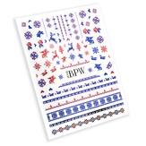 BPW Style Наклейки для ногтей Зимний микс красный-синий