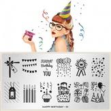 MoYou London Пластина для стемпинга Happy Birthday 01